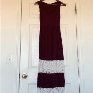 Color Me Red Maroon and White Lace Maxi